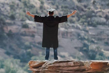 Graduate on mountain mesa