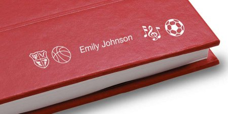 yearbook cover with name and icons