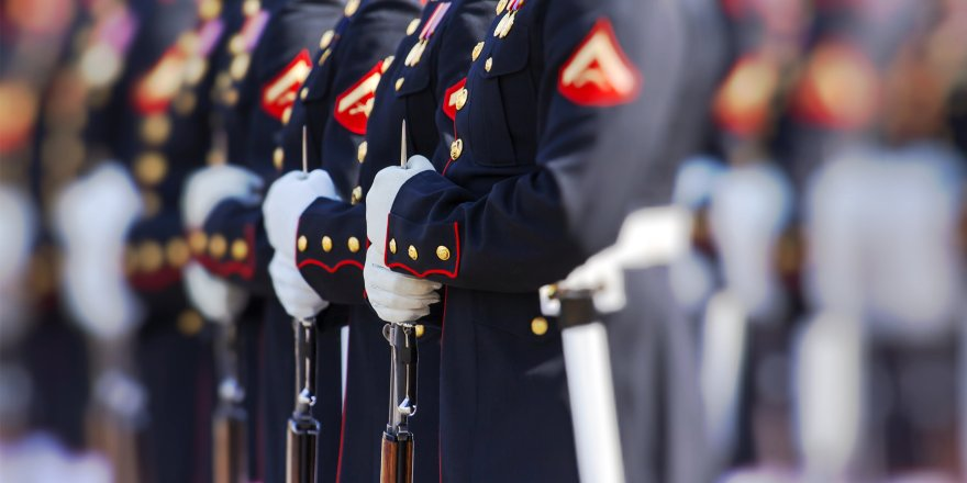 Marines in dress uniforms