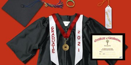 Graduation cap, gown and different combinations of ceremonial apparel